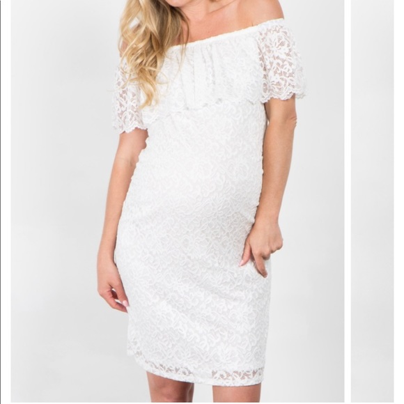 d0a13e1f74990 Pinkblush White Lace Off Shoulder Maternity Dress.  M_5b20270b1b32947bf0308d59